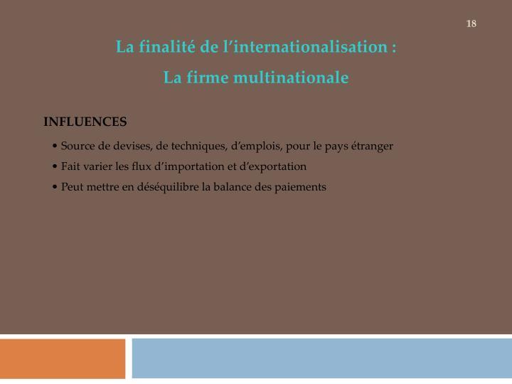 La finalité de l'internationalisation :