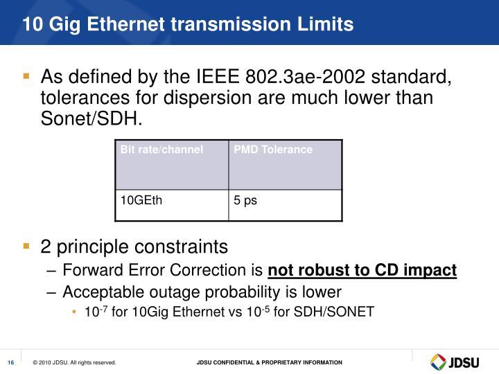 10 Gig Ethernet transmission Limits