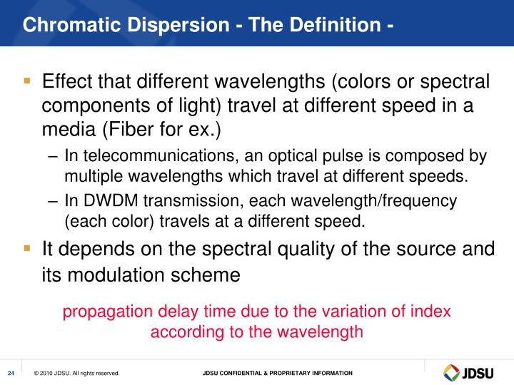 Chromatic Dispersion - The Definition -