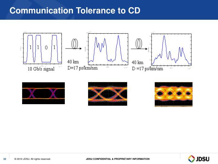 Communication Tolerance to CD