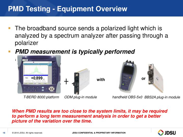 PMD Testing - Equipment Overview