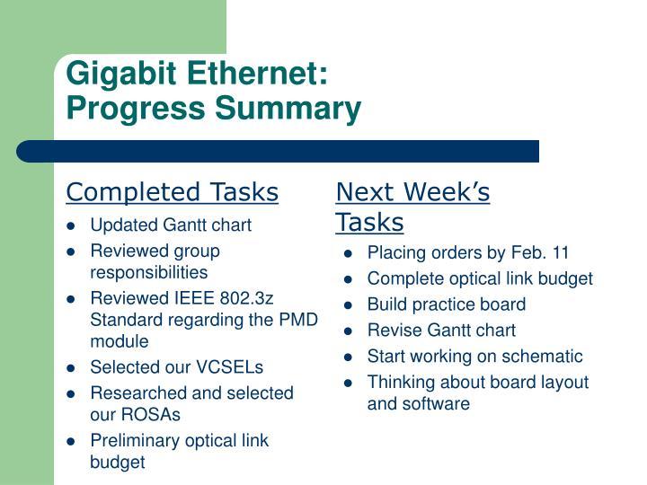 Gigabit ethernet progress summary