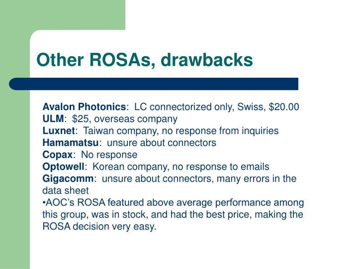 Other ROSAs, drawbacks