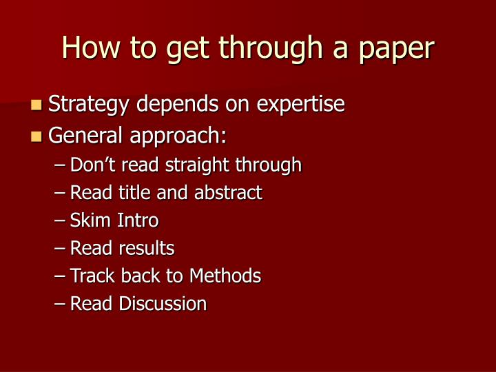 How to get through a paper