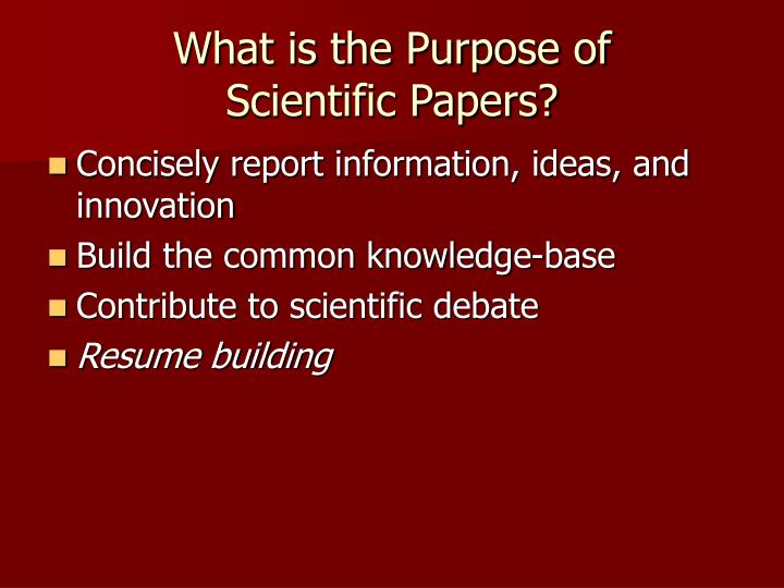What is the purpose of scientific papers