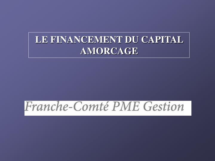 LE FINANCEMENT DU CAPITAL AMORCAGE
