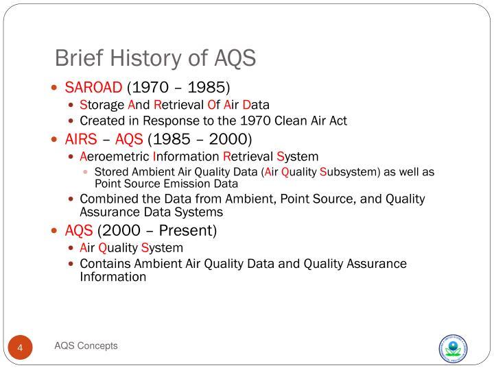 Brief History of AQS