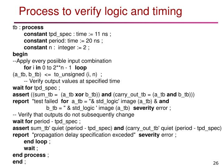 Process to verify logic and timing