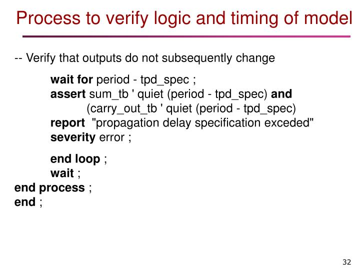 Process to verify logic and timing of model