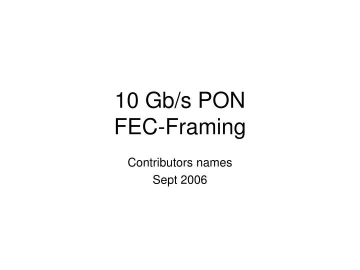 10 gb s pon fec framing