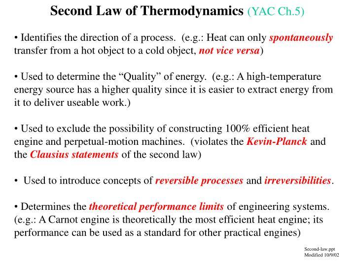 second law of thermodynamics yac ch 5 n.