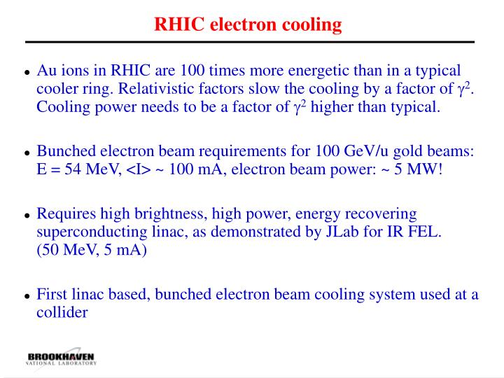 RHIC electron cooling