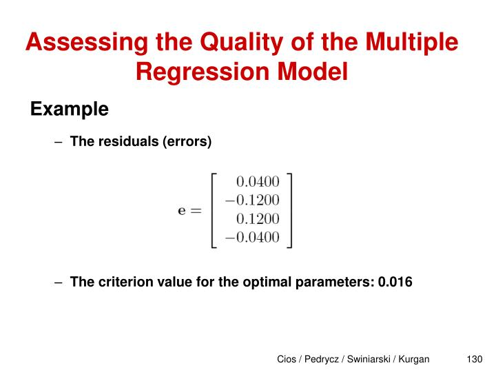 Assessing the Quality of the Multiple Regression Model