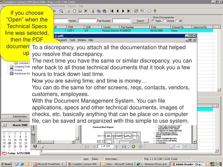 """If you choose """"Open"""" when the Technical Specs line was selected, then the PDF document opens up."""