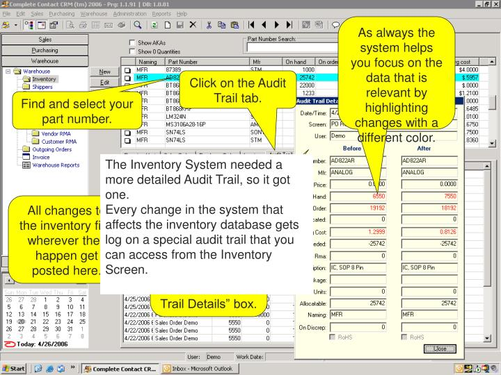 As always the system helps you focus on the data that is relevant by highlighting changes with a different color.