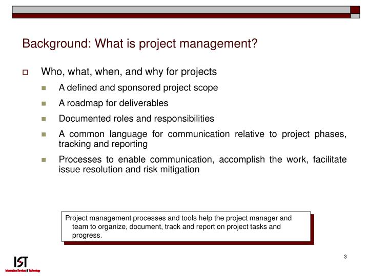 Background what is project management
