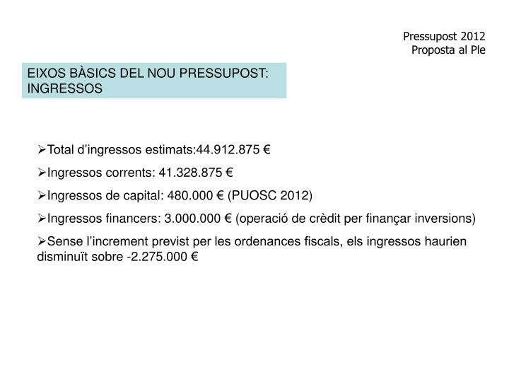 Pressupost 2012 proposta al ple