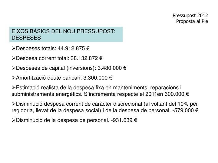 Pressupost 2012 proposta al ple1