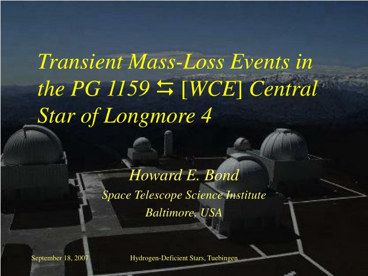 Transient mass loss events in the pg 1159 wce central star of longmore 4