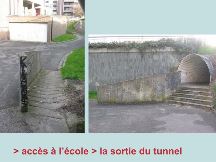 > accès à l'école > la sortie du tunnel