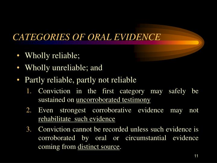 CATEGORIES OF ORAL EVIDENCE