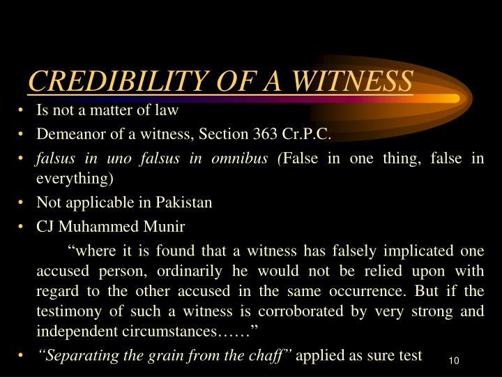 CREDIBILITY OF A WITNESS