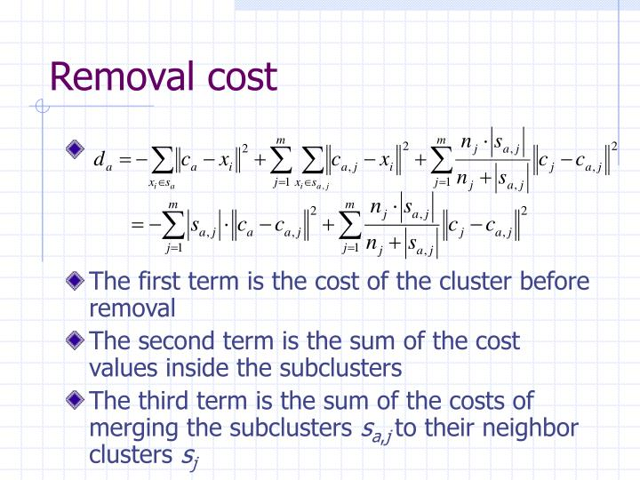 Removal cost