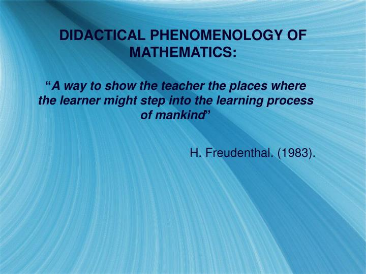 DIDACTICAL PHENOMENOLOGY OF MATHEMATICS: