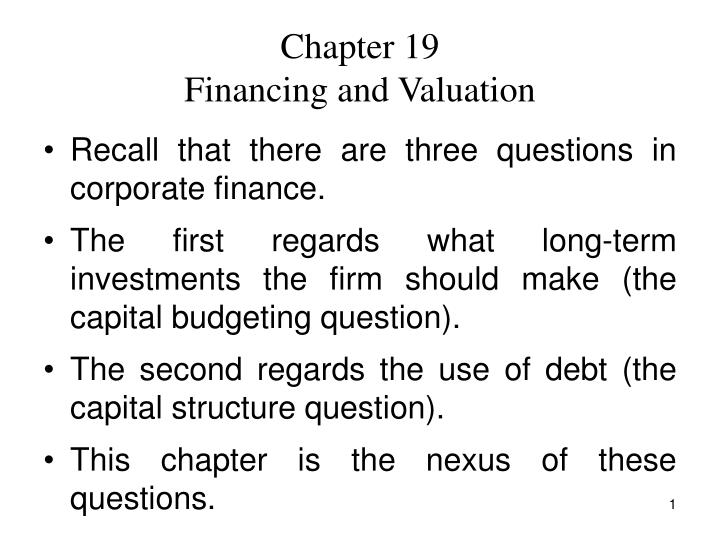 chapter 19 financing and valuation n.
