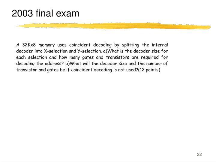 2003 final exam