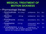 medical treatment of motion sickness