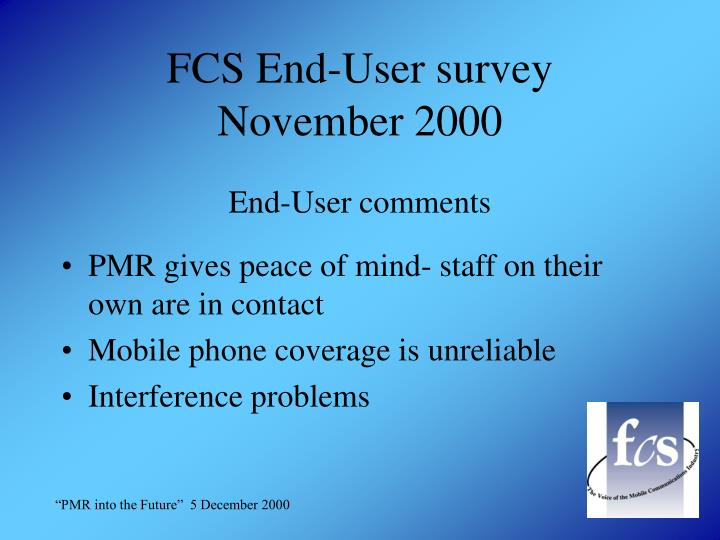 FCS End-User survey
