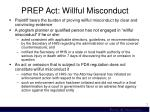prep act willful misconduct