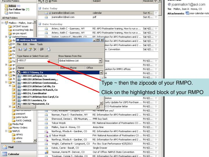 Type ~ then the zipcode of your RMPO.
