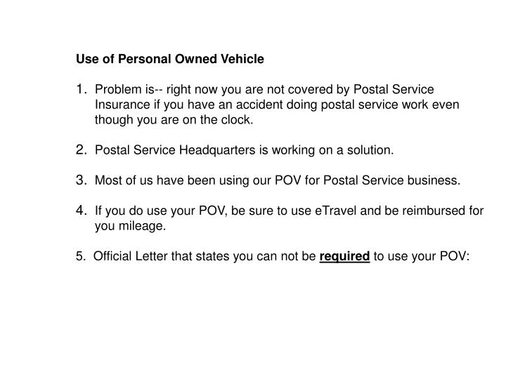Use of Personal Owned Vehicle