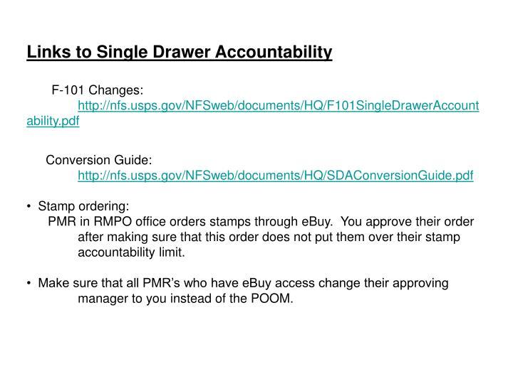 Links to Single Drawer Accountability