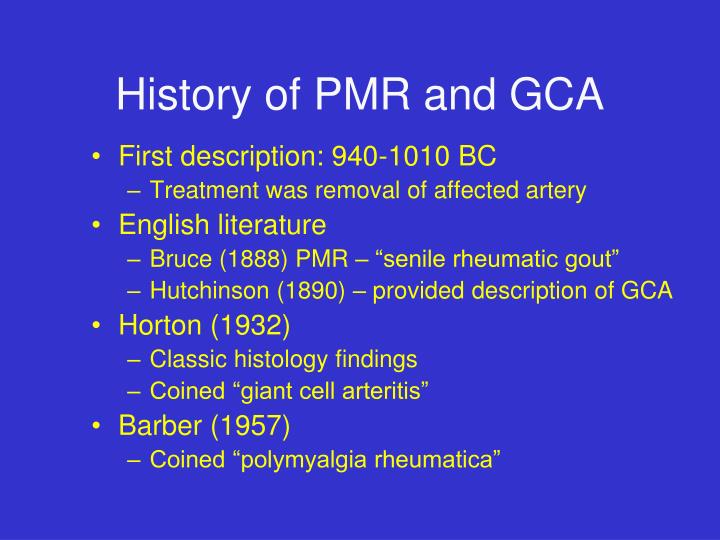 History of pmr and gca
