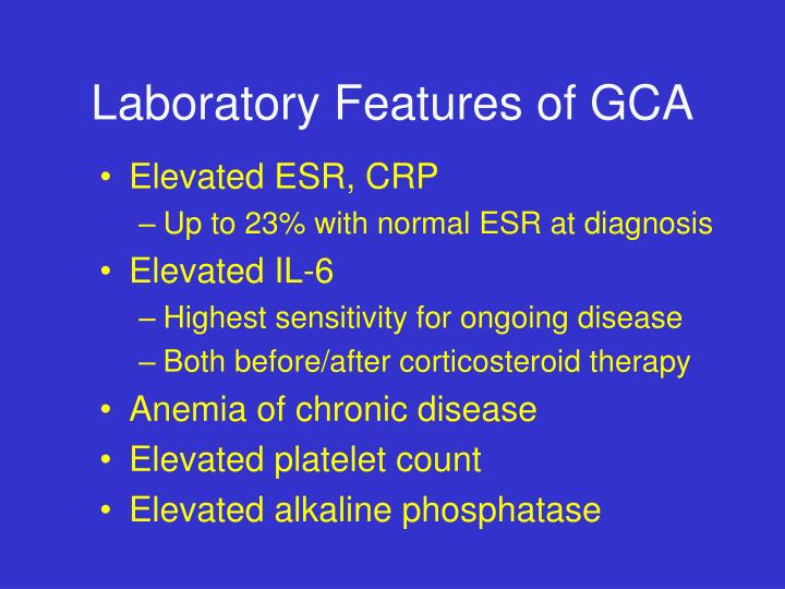 Laboratory Features of GCA