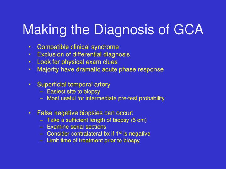 Making the Diagnosis of GCA