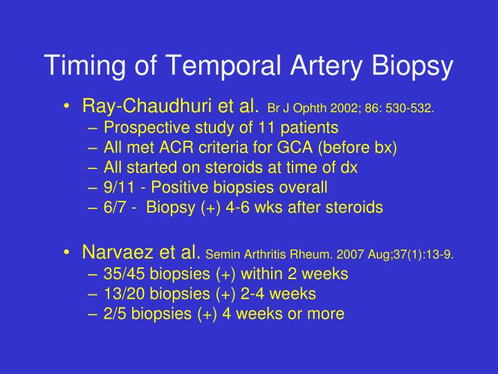 Timing of Temporal Artery Biopsy