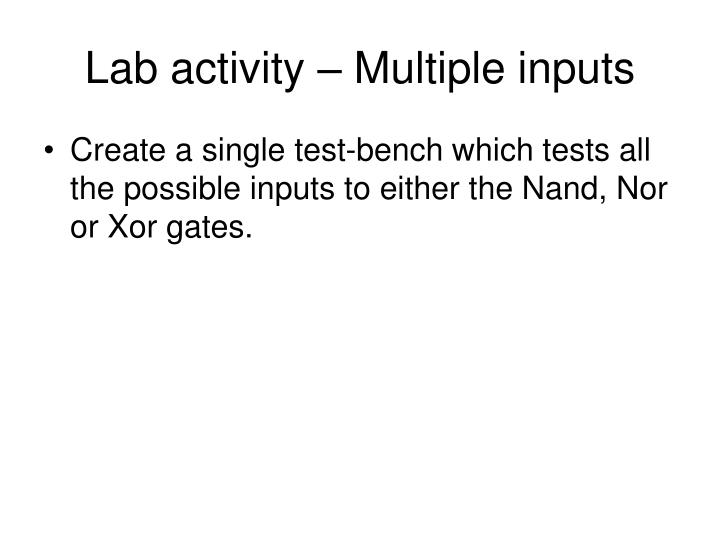 Lab activity – Multiple inputs