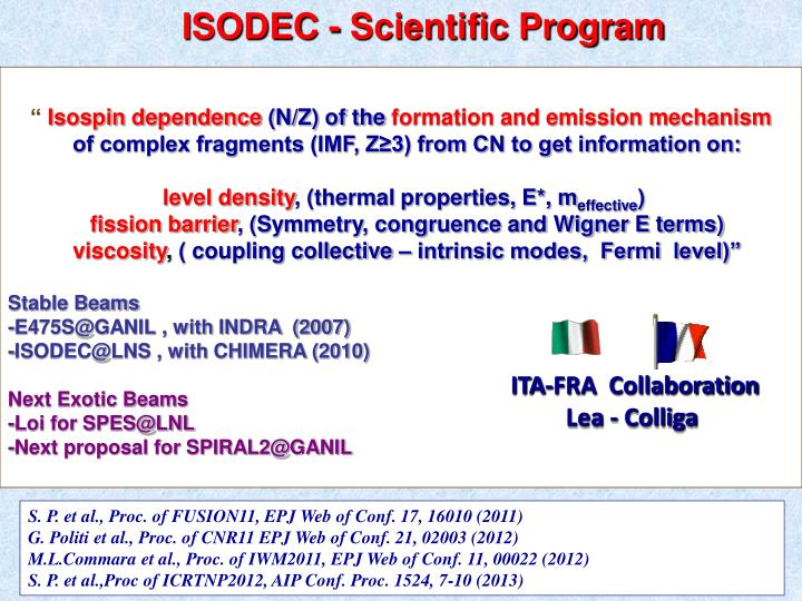 ISODEC - Scientific Program