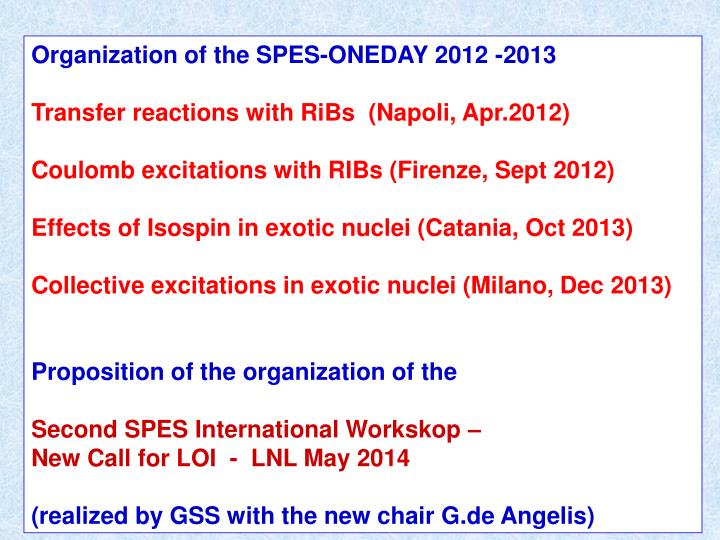 Organization of the SPES-ONEDAY 2012 -2013