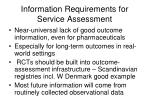 information requirements for service assessment