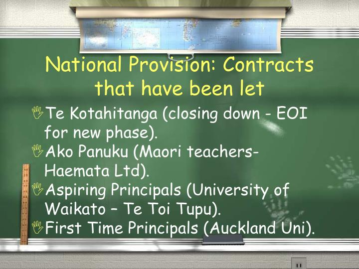 National Provision: Contracts that have been let