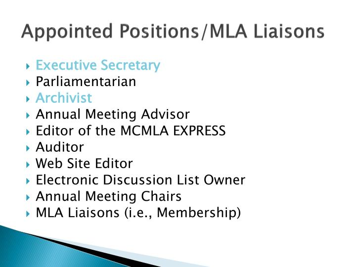Appointed Positions/MLA Liaisons