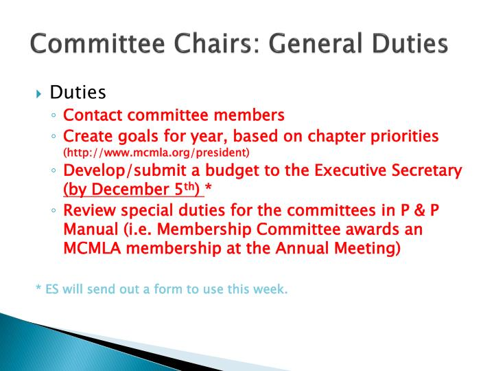 Committee Chairs:
