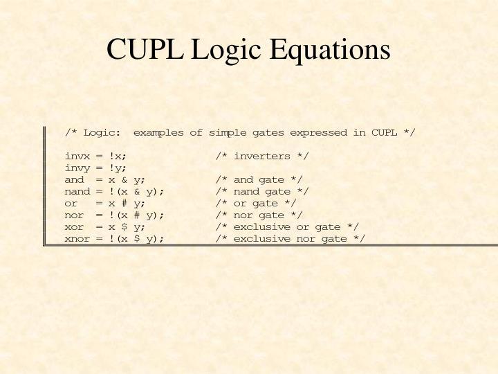 CUPL Logic Equations