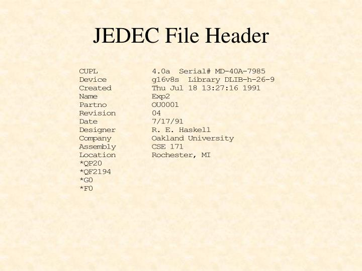 JEDEC File Header