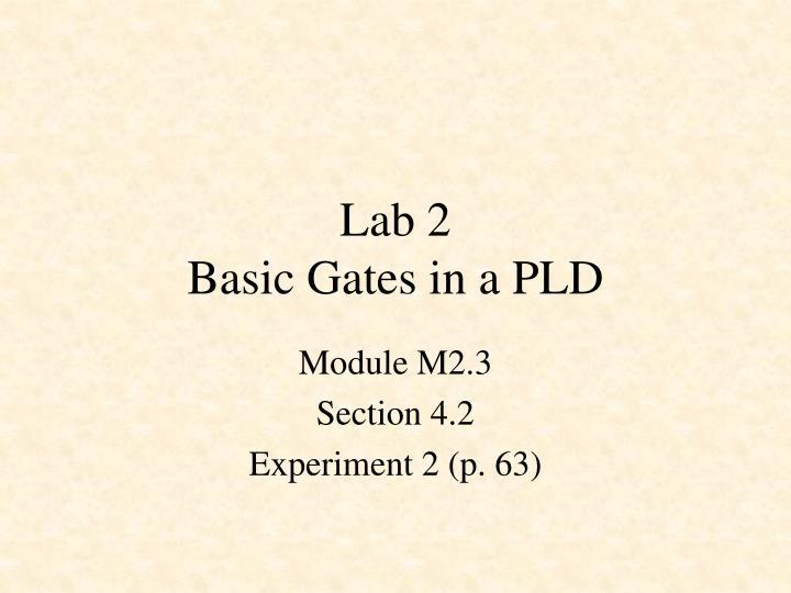 Lab 2 basic gates in a pld